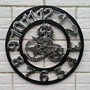 ヨーロッパのスタイルヴィンテージ鉄ミュート壁時計新鮮なスタイル(銀色)