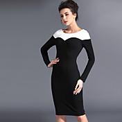 Baoyan® 女性 ボートネック ロング 膝上 ドレス-120110