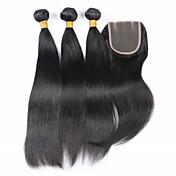 閉鎖が付いている毛横糸 ブラジリアンヘア ストレート ヘア織り