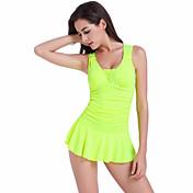 Mujer Un Color Halter Una Pieza Bañadores Sólido Negro Amarillo Verde Sandía