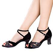Mujer Latino Brillantina Lentejuelas Terciopelo Tafetán Sintético Sandalia Tacones Alto Zapatilla Interior Volantes Fruncido Brillantina