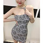 De las mujeres Corte Bodycon Vestido Noche Simple,Estampado Halter Mini Sin Mangas Blanco Nailon Verano