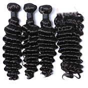 閉鎖が付いている毛横糸 ブラジリアンヘア ルーズウェーブ 6ヶ月 4個 ヘア織り