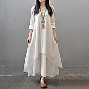 Mujer Corte Ancho Vestido Casual/Diario Simple Tejido Oriental,Un Color Escote en Pico Maxi Manga Larga Algodón Poliéster Otoño Tiro Medio