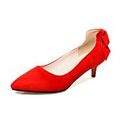 Mujer Zapatos Vellón Primavera / Verano Confort Tacones Tacón Stiletto Pajarita Negro / Rojo / Negro / Rojo / Vestido