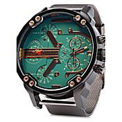 男性用 軍用腕時計 クォーツ カレンダー 2タイムゾーン ステンレス バンド ぜいたく クール シルバー