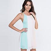 女性 ビーチ ドレス,パッチワーク ストラップ ミニ ノースリーブ ピンク ポリエステル 夏 伸縮性なし 薄手