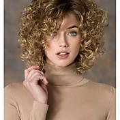 Mujer Pelucas sintéticas Sin Tapa Corto Rizado Rubia Parte lateral Peluca natural Las pelucas del traje