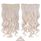 ヘアエクステンション24」(60センチメートル)で金髪の合成クリップ#60 120グラム長い波状カーリー5clips抵抗力が髪