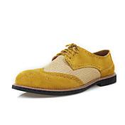メンズ 靴 スエード 春 秋 オックスフォードシューズ 下駄とミュール ウォーキング 用途 結婚式 カジュアル グレー イエロー Brown