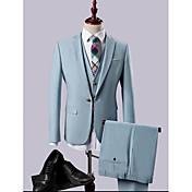スカイブルー マルチカラー 純色 スリムフィット ポリエステル/レーヨン(T / R) スーツ - ノッチドラペル シングルブレスト 一つボタン