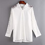 婦人向け カジュアル/普段着 夏 シャツ,シンプル シャツカラー ソリッド ホワイト コットン / ポリエステル 長袖 薄手