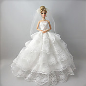 Boda Vestidos por Muñeca Barbie  Vestidos por Chica de muñeca de juguete