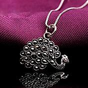 女性 純銀製 ラインストーン 模造ダイヤモンド 孔雀 ファッション シルバー ジュエリー 1セット