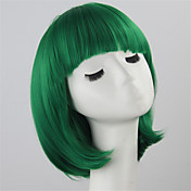 女性 人工毛ウィッグ キャップレス ショート丈 ストレート グリーン ボブスタイル・ヘアカット コスプレ用ウィッグ コスチュームウィッグ