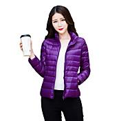 婦人向け 長袖 ダウン コート,シンプル / ストリートファッション / 活発的 ポリエステル