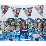 lujo 78pcs congelado decoración decoraciones fiesta de cumpleaños de los niños evnent fuentes del partido del partido 6 personas
