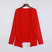 Mujer Largo CardiganUn Color Azul Rosa Rojo Negro Gris Escote Redondo Manga Larga Algodón Lino Otro Otoño Fino Microelástico