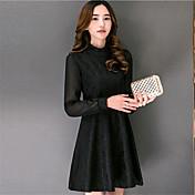 De las mujeres Vaina Vestido Noche / Tallas Grandes Chic de Calle,Un Color Escote Chino Sobre la rodilla Manga Larga Blanco / Negro