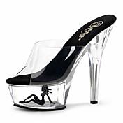 Mujer Zapatos PVC Verano / Otoño Zapatos con luz / Zapatos del club Tacones Tacón Stiletto / Talón translúcido / Tacón de cristal Tacón