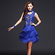 Debemos vestidos latinos de la danza mujeres vestido del funcionamiento brazaletes del neckwear