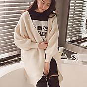Mujer Largo Cardigan Casual/Diario Simple,Un Color Azul Rosa Blanco Gris Escote Redondo Manga Larga Acrílico Primavera Medio Microelástico