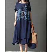 Mujer Tallas Grandes Tejido Oriental Algodón Línea A Corte Ancho Vestido - En Capas Estampado, Árboles y Hojas Midi Azul