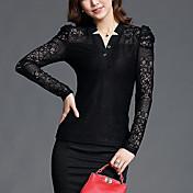 女性 カジュアル/普段着 / お出かけ 秋 Tシャツ,ヴィンテージ Vネック ソリッド ブラック ナイロン 長袖 薄手