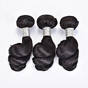 人毛 ブラジリアンヘア 人間の髪編む ルーズウェーブ ヘアエクステンション 3個 ブラック