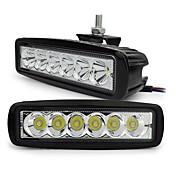 exled 18ワット白色LED 6500Kの1800lm防水車のライト - 黒(2個)