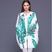 stephanie mujeres que salen de coatprint sofisticada cuello redondo de manga larga blanca de primavera