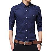 Camisa De los hombres Estampado Casual / Trabajo / Formal / Tallas Grandes-Algodón-Manga Larga-Negro / Azul / Rojo / Blanco