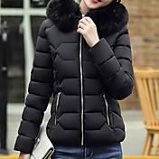 婦人向け 長袖 ダウン コート,キュート / ストリートファッション ポリエステル