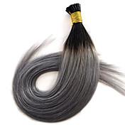 14-24オンブル1bはシルバーグレーの事前結合したケラチンヘアエクステンション平坦な先端ヘア1グラム/ sの人間の髪の毛