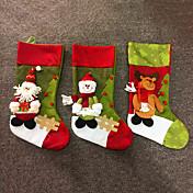 store mode jul stof sok gaver poser træ dekoration hjorte santa snemand mønster julen strømper gave taske holdere (style tilfældig)