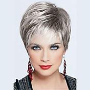 Mujer Pelo humano pelucas sin tapa Negro Azabache Gris Rubio Beige // Bleach Blonde Corto Liso Corte Pixie Corte a capas Con flequillo