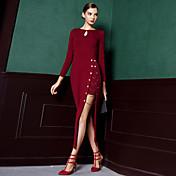 Mujer Vaina Vestido Formal / Fiesta/Cóctel Vintage / Simple,Un Color Escote Redondo Midi Manga Larga Rojo / Negro Algodón Otoño / Invierno
