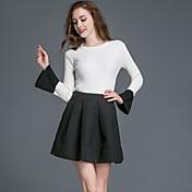 女性 カジュアル/普段着 秋 スカート スーツ,シンプル ラウンドネック ソリッド ホワイト ポリエステル 長袖