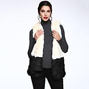 女性 カジュアル/普段着 冬 ソリッド ファーコート,シンプル ホワイト / グレイ フェイクファー ノースリーブ 厚手