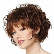 Mujer Pelucas sintéticas Sin Tapa Corto Rizado Marrón Corte Pixie Con flequillo Peluca natural Las pelucas del traje