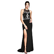 Trompeta / Sirena Escote de ilusión Larga Jersey Evento Formal Vestido con Cuentas Frontal Abierto por TS Couture®