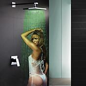 コンテンポラリー 壁式 滝状吐水タイプ レインシャワー LED セラミックバルブ 一つ シングルハンドルつの穴 クロム , シャワー水栓 浴槽用水栓