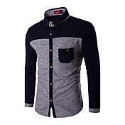 男性 カジュアル/普段着 / ワーク / プラスサイズ 冬 シャツ,シンプル レギュラーカラー カラーブロック ブルー / グレイ コットン 長袖 薄手