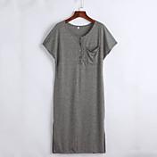 女性用 日常 カジュアル Tシャツ 膝丈 ドレス, ソリッド 半袖 フード付き