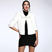 女性 カジュアル/普段着 冬 ソリッド ファーコート,シンプル ホワイト ポリエステル 七部袖 厚手