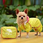 Perro Impermeable Ropa para Perro Portátil Plegable A Prueba de Agua Sólido Amarillo Rojo Azul Disfraz Para mascotas