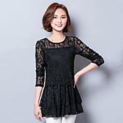 signo de la primavera 2016 nuevas mujeres adelgazan la camisa delgada del color sólido del cordón y largas secciones que basa la camisa