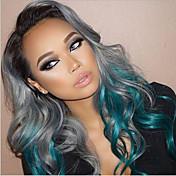Kvinder Syntetiske parykker Lågløs Krop Bølge Grå Ombre-hår Naturlig paryk kostume Parykker