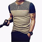 男性用 パッチワーク カジュアル / プラスサイズ Tシャツ,半袖 ポリエステル,ブルー / レッド
