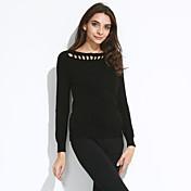 Mujer Regular Pullover Casual/Diario Simple,Un Color Rojo Blanco Negro Marrón Gris Escote Barco Manga Larga Algodón Otoño Invierno Medio
